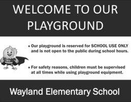 Reminder about Playgrounds/Outdoor Facilities